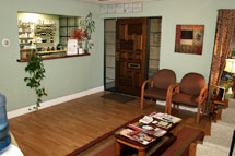 The reception area of our naturopathic clinic.